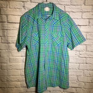 Wrangler 2XLT green plaid snap button shirt 3138